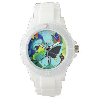 Montres Bracelet Collage blanc élégant de papillon de silicium