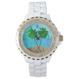 Montres Bracelet Collage de scène de plage de palmier d'aquarelle