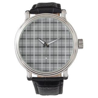Montres Bracelet Cool élégant minimal élégant chic gris de tartan