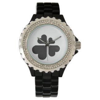 Montres Bracelet croix de coeurs - noir