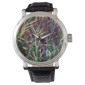 Montres Bracelet Herbe abstraite colorée et grille