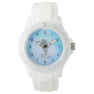 Montres Bracelet Hippocampe et coquillage sur l'aquarelle bleue
