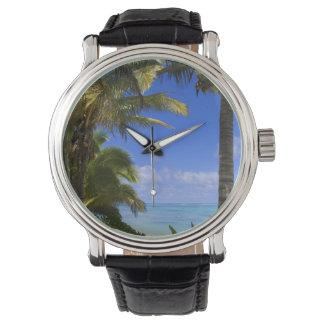 Montres Bracelet Îles Cook rayées par paume de plage 2