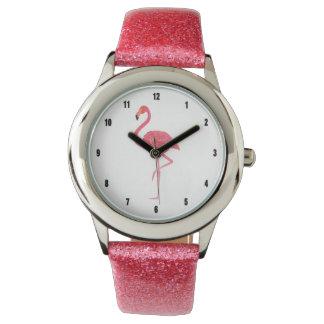 Montres Bracelet Illustration rose de flamant d'aquarelles