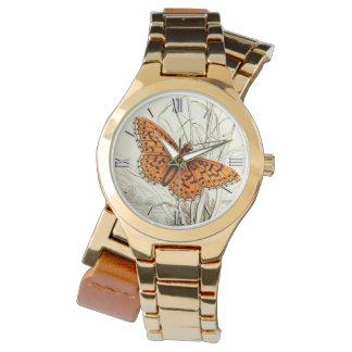 Montres Bracelet Illustration vintage de papillon, profondément