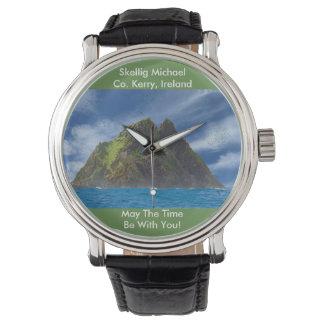 Montres Bracelet Image irlandaise pour le cuir vintage noir