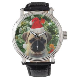 Montres Bracelet L'arbre de Noël de chiot de carlin ornemente le