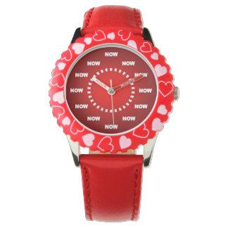 """Montres Bracelet Le cool superbe """"MAINTENANT"""" observent (le rouge)"""