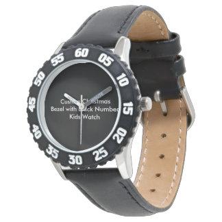Montres Bracelet Le noir fait sur commande d'encadrement de Noël
