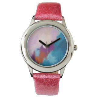 Montres Bracelet Lilas avec la peinture abstraite moderne d'Aqua -