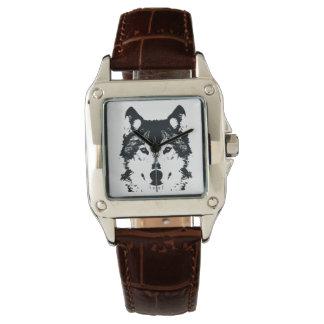 Montres Bracelet Loup noir d'illustration