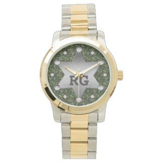 Montres Bracelet Monogramme vert d'insigne de shérif de motif de