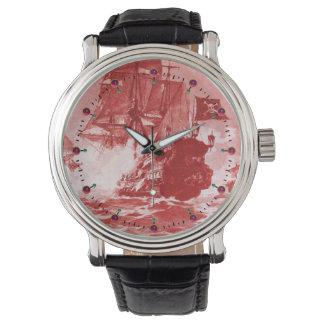 Montres Bracelet Nautique blanc rouge d'antiquité de BATAILLE de