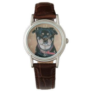 Montres Bracelet noir réaliste d'art de portrait de chien de carlin