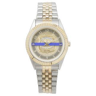 Montres Bracelet Or commémoratif mince d'hommage de Blue Line