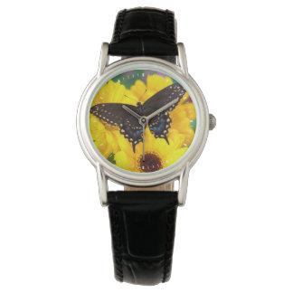 Montres Bracelet Papillon noir de machaon