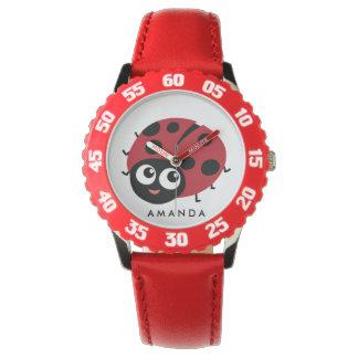 Montres Bracelet Petite coccinelle rouge mignonne personnalisée