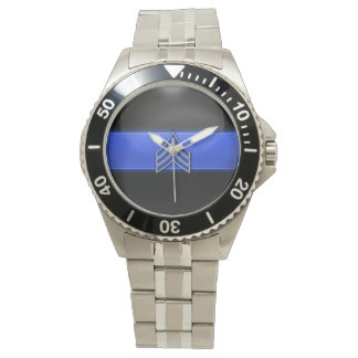 Montres Bracelet Rayures bleues/blanches de Blue Line mince - de