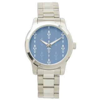 Montres Bracelet Rayures florales savoureuses dans le bleu et le