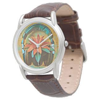 Montres Bracelet Rétros écouteurs de style sur une fleur