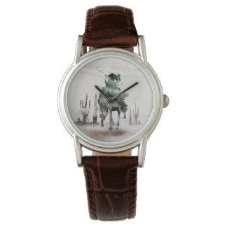 Montres Bracelet Rodéo - double exposition - cowboy - cowboy de