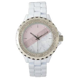 Montres Bracelet rose de marbre blanc de parties scintillantes