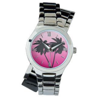 Montres Bracelet Silhouette de palmier sur le rose d'aube