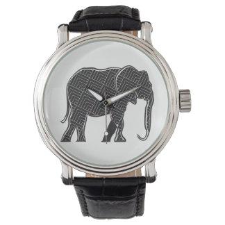 Montres Bracelet Silhouette élégante noire de motif d'éléphant