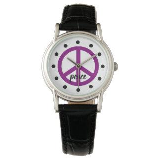 Montres Bracelet Symbole de paix pourpre gitan personnalisé