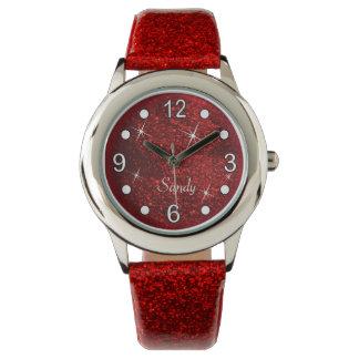 Montres Bracelet Texture assez rouge de parties scintillantes