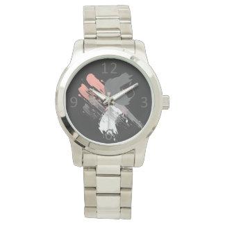 Montres Bracelet traçages blancs et gris roses de corail élégants