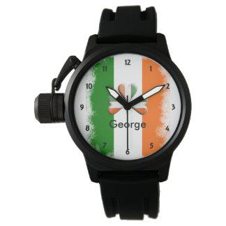 Montres Bracelet Tri shamrock irlandais affligé de couleurs