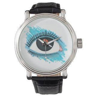 Montres Bracelet Vision musicale : eye illustration with vinyl