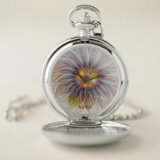 Montres De Poche Fleur colorée lumineuse, moderne abstrait, nom