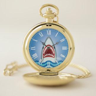 Montres De Poche Grand requin blanc avec drôle bouche bée de
