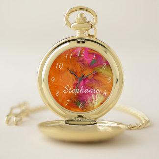 Montres De Poche Les plumes oranges de roses indien personnalisent