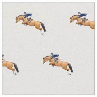 Montrez le tissu sautant de cavalier de cheval