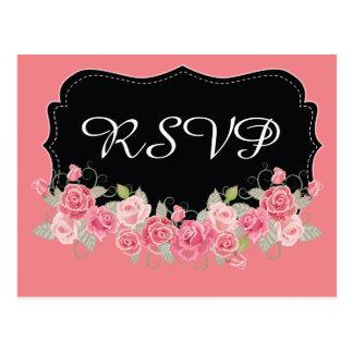 Mooie Roze RSVP en Zwart Briefkaart