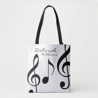 mooie witte bolsa-zak met zwarte muzieknoten draagtas