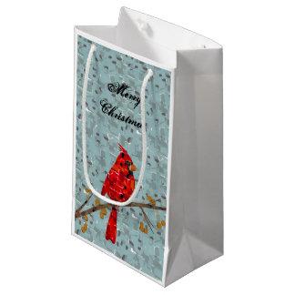 Mosaïque cardinale rouge petit sac cadeau