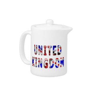 Mot du Royaume-Uni avec la théière de texture de