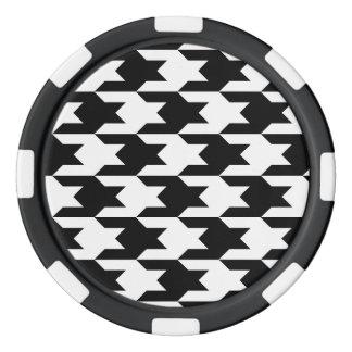 Motif 1 de pied-de-poule noir et blanc rouleau de jetons de poker