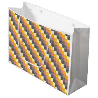 Motif abstrait de couleur de grille grand sac cadeau