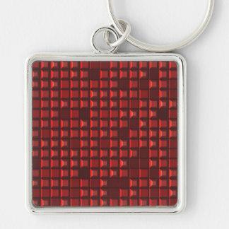 motif abstrait de frustum de rouge (pyramide de to porte-clé carré argenté