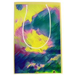 Motif abstrait multicolore de fête vibrant sac cadeau moyen