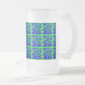 Motif animal bleu de vert de chaux de singe mignon frosted glass beer mug