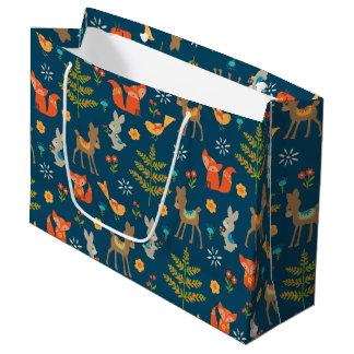 Motif animal de région boisée mignonne grand sac cadeau