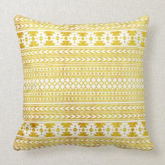 Motif aztèque d'or ethnique chic oreiller