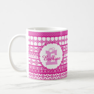 Motif aztèque Girly de rose de tasse de monogramme