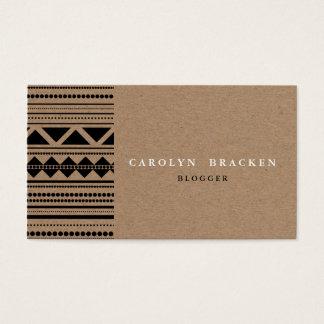 Motif aztèque tribal rustique de papier de Brown Cartes De Visite